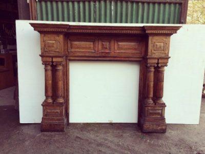 Large Timber Fireplace