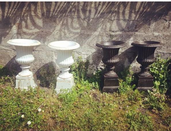 Cast Iron Urns on Pedestal