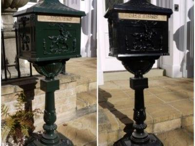 Aluminium Freestanding Post Box - Green and Black